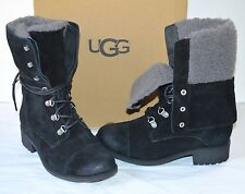 New $200 UGG Gradin Suede Black Lace Up Combat/Hiking Boots sz 6.5