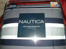 NAUTICA  BAIRSTONE GRAY NAVY BLUE  STRIPE  4 PC  KING  COMFORTER SHAMS BEDSKIRT
