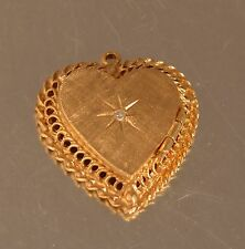 14K YELLOW GOLD  VINTAGE HEART  LOCKET WITH DIAMOND  PENDANT 6.6gr a31