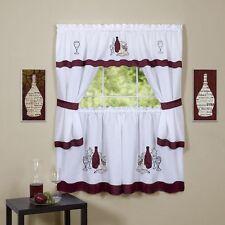 Cabernet Burgundy Complete Kitchen Curtain Set- WINDOW CURTAIN/ Wine Bottles