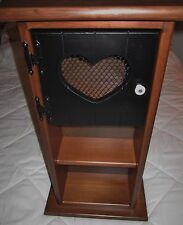 Vintage Colonial Country Wood Display Cabinet with Heart Door