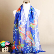 New Pretty Women Girls Fashion Long Soft Blue Butterfly Chiffon Scarf Wrap Shawl