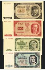1948 Poland Set of 4 UNC banknotes: 20, 50, 100, and 500 Zlotych Uncirculated