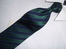 "New Fossil Green & Blue Striped Woven Silk Tie 57""X 3. 5"""