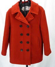 Vtg SCHOTT NYC Peacoat US 740N Pea Jacket Red Wool Womens 14/L Anchor Buttons