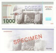 South Korea Dokdo 1000 Dollars 2013 UNC SPECIMEN Private Fantasy Banknote