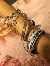 "Hippie Chick 7 Bangle Bracelets 2.25"" Small Chrome Gt Etched Glass"
