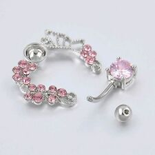 Cute Butterfly Flower Crystal Belly Button Ring Navel Bar Body Piercing Jewelry