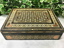 Lovely Tunbridge Ware Wooden Trinket Box With Geometric Mosaic Inlay Red Felt