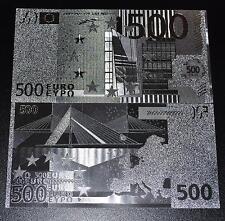500 euro banknote dinero ficticio en plata lámina de plata tamaño original nuevo dinero de plata