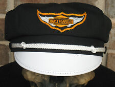 VINTAGE STYLE BIKER ROAD CAPTAIN'S HAT/CAP - HARLEY DIAMOND WING PATCH !!