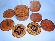 Vintage Hand Painted Straw Stick Woven Lacquered COASTERS & Box Fine Work