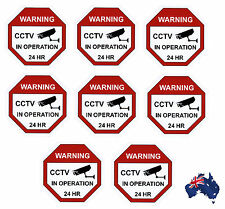 CCTV Camera Warning Stickers, Surveillance Vinyl Decal, Video Security Sign X8