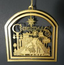 Christmas in Tampa, Florida Christmas Tree Ornament 24K Gold on Brass Ornament