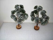 """Set of 2 Village Flocked Trees Great For Christmas Village or Train Set 12"""" Each"""