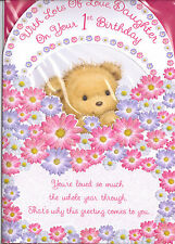 With Lots Of Love Daughter On Your 1st Birthday. 3 Fold Card Teddy & Flowers.