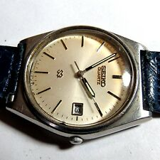 VINTAGE MENS SEIKO QUARTZ WRISTWATCH WATCH WHITE DIAL RUNS