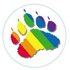 Large Rainbow Bear Paw Button Pin Gay Pride