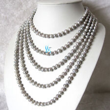 """100"""" 7-8mm Silver Gray Freshwater Pearl Long Necklace UE"""