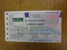 03/02/1996 Rugby Union Ticket: England v Wales [At Twickenham] (creased)