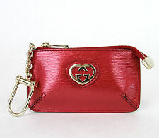NEW Authentic GUCCI Metallic Leather Clip Key Chain Case Pouch Red 338193 6523