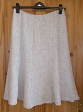 PER UNA beige sand gold cream paisley stripe midi flared riding LINEN skirt 12R