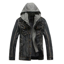 PUNK Men's Winter Casual Jacket Thicken Warm Hooded Coat Denim Jean Coat Outwear