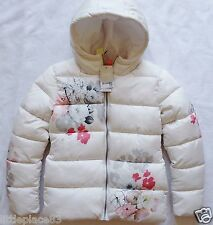 BNWT NEXT £38 Girls Ecru Floral Padded hooded winter warm puffa jacket 12 years