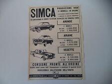 advertising Pubblicità 1959 SIMCA ARONDE/ARIANE/ VEDETTE