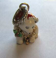 Brighton Polar Bear  Charm- Santa Hat- white green red -holiday/Christmas