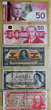 Five  Canadian  $50.00 Bills   1937  1954  1975  1988  2004