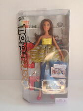 Barbie Stardoll Brunette Yellow Dress Top & Jeans w Pink Shoes 2011 Doll
