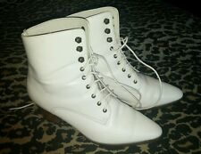 80'S Vintage Woman's Mixed Blues Leather Cream Playa Granny Boots Size 7M