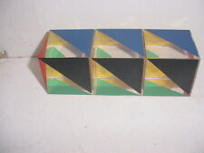 Great set of 3 Geometric Mid Century Modern Lucite Paperweight Cubes  (2457)