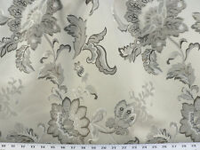 Drapery Upholstery Fabric Jacquard Floral - Black, Ivory & Taupe on Light Silver