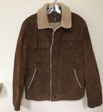 J CREW Men's Brown Genuine Suede Leather Faux Shearling/Sherpa Jacket Coat S
