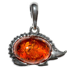 1.77g Hedgehog Authentic Baltic Amber 925 Sterling Silver Pendant Jewelry A552