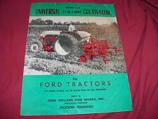1950's John Williams Universal E-54 Cultivator Brochure for Ford Tractor