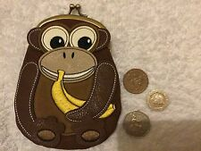 Monkey Clip Top Purse Faux leather & embroidery. New look. New no tags