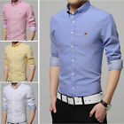 New Men's Solid Casual Dress Long-sleeve Shirts Clothes Camisas Slim MT253