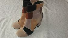 River Island Size 4 PATCHWORK ANKLE BOOTS *VVGC* Shoes Ladies Heels Brown Black