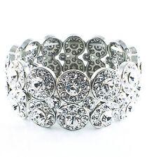 USA WOMENS Bracelet Rhinestone Crystal Adjustable Wedding Bridal Silver Clear 10