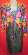 ~SILK Black Beaded Formal Dress & Jacket w/ Colorful Floral Sz M~~(Holiday, 6/8)