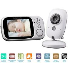 "Wireless 3.2"" Video Audio Baby Monitor + Thermometer Night Vision Camera US I3U8"