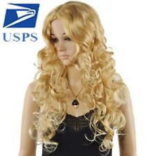 Fashion Hot Long Blonde Wavy Curly Women Heat Resistant Cosplay Hair Full Wig