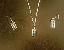 Dr Who themed enamel police box necklace and earring set.