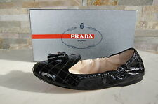 lusso PRADA 40,5 Ballerine Leggere Scarpe Basse Agnello nero nuovo