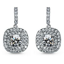 18k White Gold Filled Clear Swarovski Crystal Wedding Square Drop Earring IE108