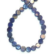 NG2650f Blue Lapis Lazuli 5mm Flat Round Coin Natural Gemstone Beads 15""