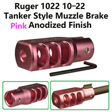 Slip On Set Screw Tightened Ruger 10/22 1022 Muzzle Brake Tanker Style Al Pink